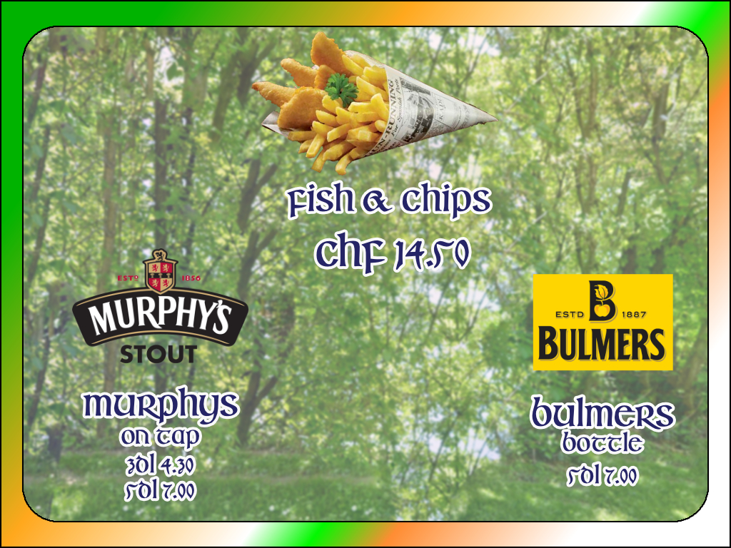 Irish Week im Road Stop Cafe, Bulmers, Murphys, Fish&Chips